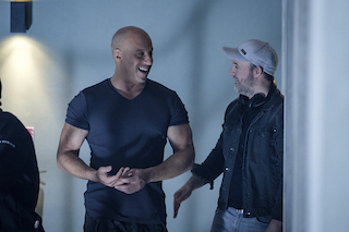 Bloodshot star Vin Diesel, left, and director Dave Wilson share a moment. Photo by Graham Bartholomew