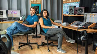 Ana Monte, right, and Daniel Deboy, cofounders of Delta Soundworks in Heidelberg, Germany.