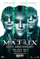 Dolby, Warner Bros., and AMC Theatres today announced that, in celebration of the 20th anniversary of The Matrix, winner of four Academy Awards including Best Sound, audiences across the U.S. can experience the Warner Bros. Pictures' and Village Roadshow Pictures' film in the more than 135 Dolby Cinema at AMC locations around the U.S., beginning August 30.