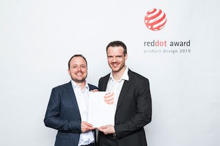 DPA Microphones' project lead Rune Møller and research and development manager Ole Moesmann accepted the award for the company.