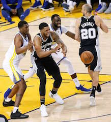 The April 22 National Basketball Association playoffs match of the Golden State Warriors versus the San Antonio Spurs.