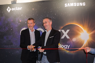 Gary Guillier-Marcellin, Samsung Display Division director, left, and Pascal Mogavero, senior vice president, Éclair.