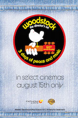 Woodstock: The Director's Cut will play at 7:00 p.m. local time, August 15, in movie theaters nationwide.