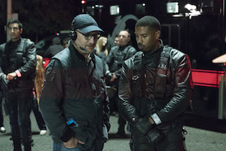 Cinematographer Kramer Morgenthau, ASC, left, with Michael B. Jordan, star and executive producer of HBOs Fahrenheit 451. Courtesy of HBO.