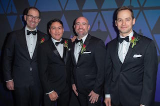 From left to right: Eric Dachs, founder and CEO; Erik Bielefeldt, director of research and development; Craig Wood, technical director; and Paul McReynolds attend the AMPAS Sci-Tech Awards where the PIX System and development team received a Technical Achievement Award from The Academy. (Photo courtesy AMPAS)