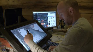 Jellyfish Picture's art director Ross Burt creating a character for Dennis and Gnasher.jpg.