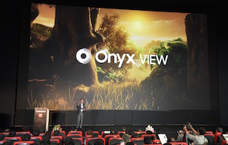 Puneet Sethi, vice president, consumer electronics enterprise business, Samsung India, unveiling the Onyx screen at Swagath Cinemas.