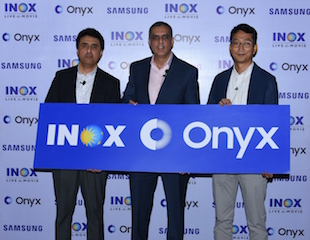 Pictured left to right: Puneet Sethi, vice president, consumer electronics enterprise business, Samsung India, Alok Tandon, chief executive officer, Inox Leisure Ltd. and S.H. Jang, director, consumer electronics enterprise business, Samsung India unveiling Samsung Onyx Cinema LED Screen at Inox, Malad, Mumbai.