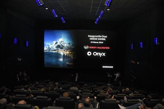 Samsung Electronics and Odeon Multicines in Leganés, Madrid today unveiled the first Onyx LED cinema screen cinema in Spain.