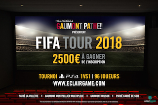 EclairGame and Les Cinémas Gaumont Pathé expand the competitions in the Fifa Tour 2018 championship.