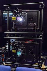 The two stacked Christie Mirage 4KLH projectors used for the screening.