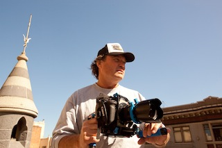DP Dana Christiaansen with a Canon EOS C300 digital cinema camera.