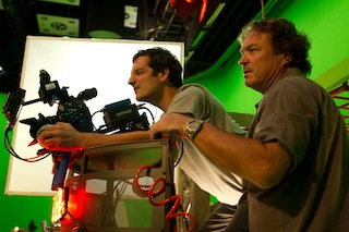 DP Dana Christiaansen, right and B camera operator Wes Cardino on the set of the short film Xxit.