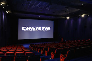 The auditorium at Vieshow Cinemas Qsquare equipped with the dual Christie Mirage 4KLH system.