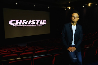 Vincent Tsang, National Technical Manager, Vieshow Cinemas, supervised the installation and commissioning of the dual Christie Mirage 4KLH system used for the movie premiere.