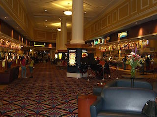 The lobby at National Amusements' City Center 15 Cinema De Lux in White Plains, New York.