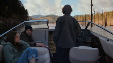 Left to right, Dakota Fanning, Jesse Eisenberg and Peter Sarsgaard in Night Moves.