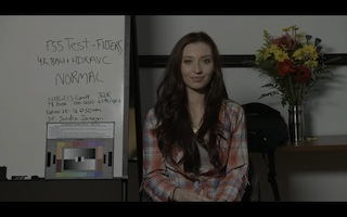 Ungraded SLOG 2 image from F55 test, featuring actress Danielle Guldin, who plays Ellen