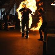 Chip Mefford, stunt performer, on fire