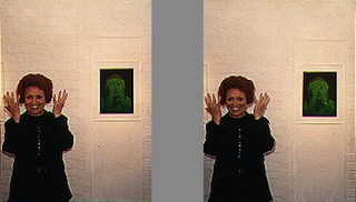 Margaret Benson at an exhibit of her hologram art.
