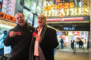Mitch Lowe and Ted Farnsworth of MoviePass celebrate passing the one million subscriber mark. Photo by Drew Osumi.