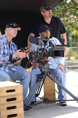 Left to right, Don Carlson C camera assistant, Tim Arasheben C camera operator and Kurt Jones DP on Wilfred