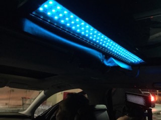 """We had six to eight LED strips — one over each of the four windows and two over the back and two shooting through the sunroof,"" Cox said."