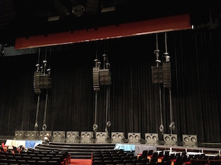 Since most cinema loudspeakers are designed for standard theatres that are rarely longer than 100 feet, QSC used its WL2102s WideLine line arrays suspended behind the screen to reach the farthest seats in the 120-foot Colosseum.