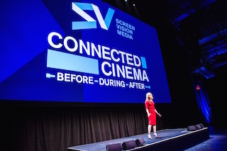 Christine Martino welcomes the media. Recently rebranded Screenvision Media has rolled out the Connected Cinema experience. All photos by Skyhook's Rick Gilbert Photography.