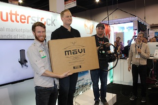 Filmmaker Adam Smith won a MōVI M5 stabilizer in a Shutterstock drawing at NAB 2014.