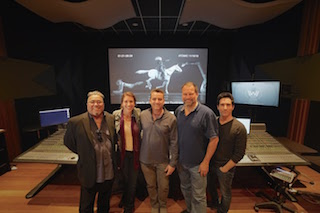 Left to right, Paul Rodriquez, vice president South Lake Audio; Brittany Ellis, recordist; Keith Rogers, re-recoding mixer, dialogue and music; Scott Weber, re-recording mixer, sound effects; Fred Paragano, dialogue editor (Atomic Sound).