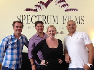 Photo courtesy of Spectrum Films: left to right, Adam Scott, general manager, Josh Pomeranz, managing director, Naomii Sinclair, business manager, and Rob Puru, chief technical engineer.