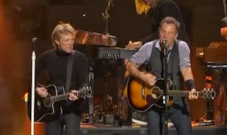 Jon Bon Jovi, Bruce Springsteen performing in documentary 12.12.12: The Concert for Sandy Relief.