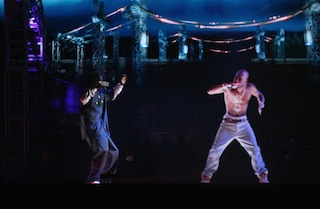 The late Tupac Shakur in a performance at Coachella that people incorrectly assumed was a hologram.