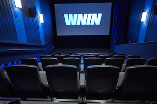 The theatre at WINN, the PBS affiliate in Indianapolis, Indiana. Cinema Pro did the front ends, wall draperies and hung the speakers there as well.