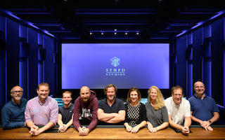 From left to right: Tom Back (Alcons Audio), Laurence Claydon (Mill Road Technology), Sam François (CinemaNext), Eelco Bakker (STMPD rec studios senior sound designer), Herman Pieëte, CAS (sound supervisor / re-recording engineer), Helena Bouscher (studio manager STMPD rec studios), Eva Coers (operations manager STMPD), Jelte Zeilstra (project manager MSV), Christian Lerch (Dolby)