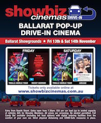 Showbiz Cinemas is pleased to announce that the Ballarat Showgrounds in Wendouree, Australia will soon be home to the first local drive-in cinema operation since the closure of the Southern Drive-In Theatre in 1991. The retro initiative will operate each weekend for at least six-months from November 13.