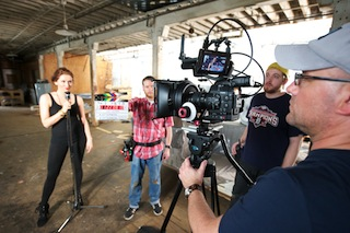 Left to right: singer/artist Lauren Santee, 1st AC Jeremy Widen, 2nd AC Aaron Michael Mills and director/DP Kevin Otterness. Photo by Eric Benson.
